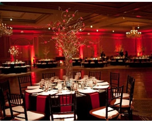 Pinspot lighting cake table or centerpieces on guests for How to light up a room
